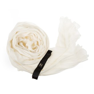 chanel-white-pleated-silk-scarf