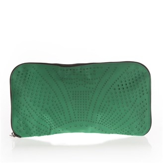 green-perforated-satin-clutch