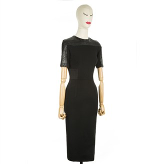 black-dress-with-snakeprint-sleeves