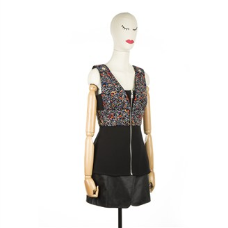 black-multicolored-sequinned-top
